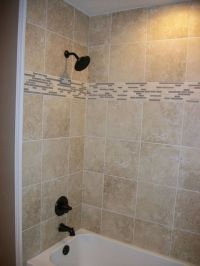 Shower Surround in Square Tile with Linear Tile Border  N ...