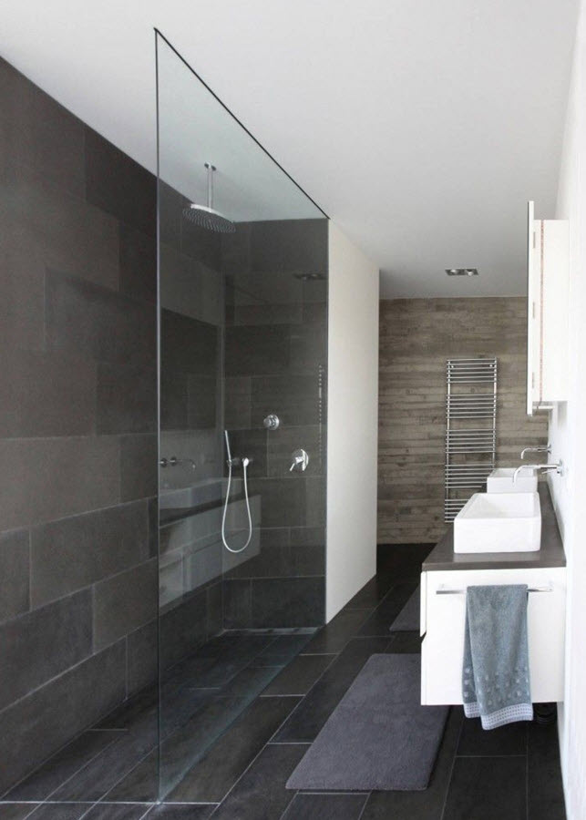 Moderne Duschen Bilder 35 Black Slate Bathroom Wall Tiles Ideas And Pictures