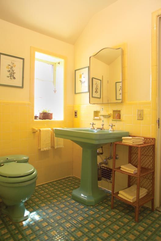 34 Retro Yellow Bathroom Tile Ideas And Pictures 2020