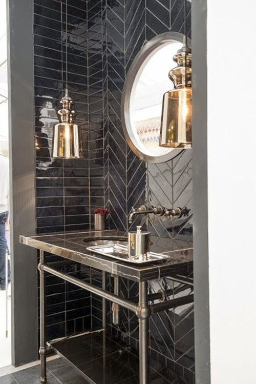 31 Shiny Black Bathroom Tiles Ideas And Pictures 2019