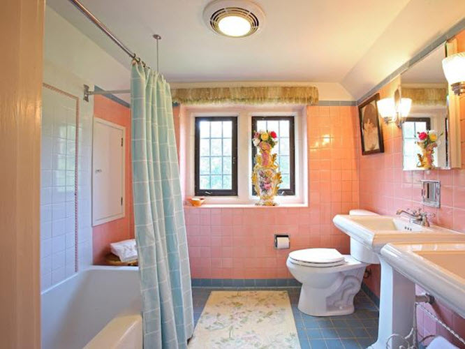 Pastel Bathroom Colors 34 4x4 Pink Bathroom Tile Ideas And Pictures 2019