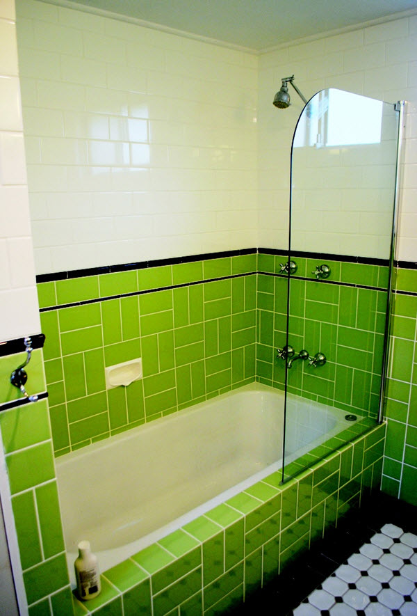 Shower Wall Tile 36 Art Deco Green Bathroom Tiles Ideas And Pictures 2019