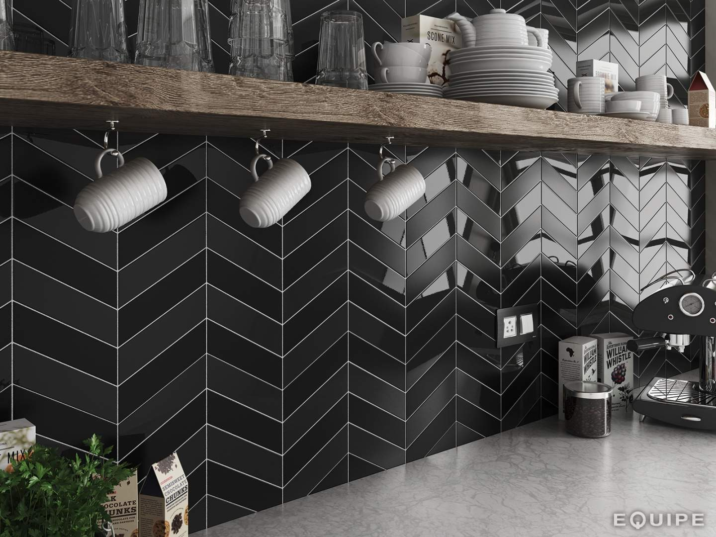 Wandtegels Zwart Herringbone Subway Tiles The Chevron Collection