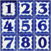 Blue Mexican Ceramic Decorative House Number Folk Art Tile ...