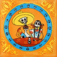 Mexican Ceramic Day of the Dead Couple Folk Art Tile ...