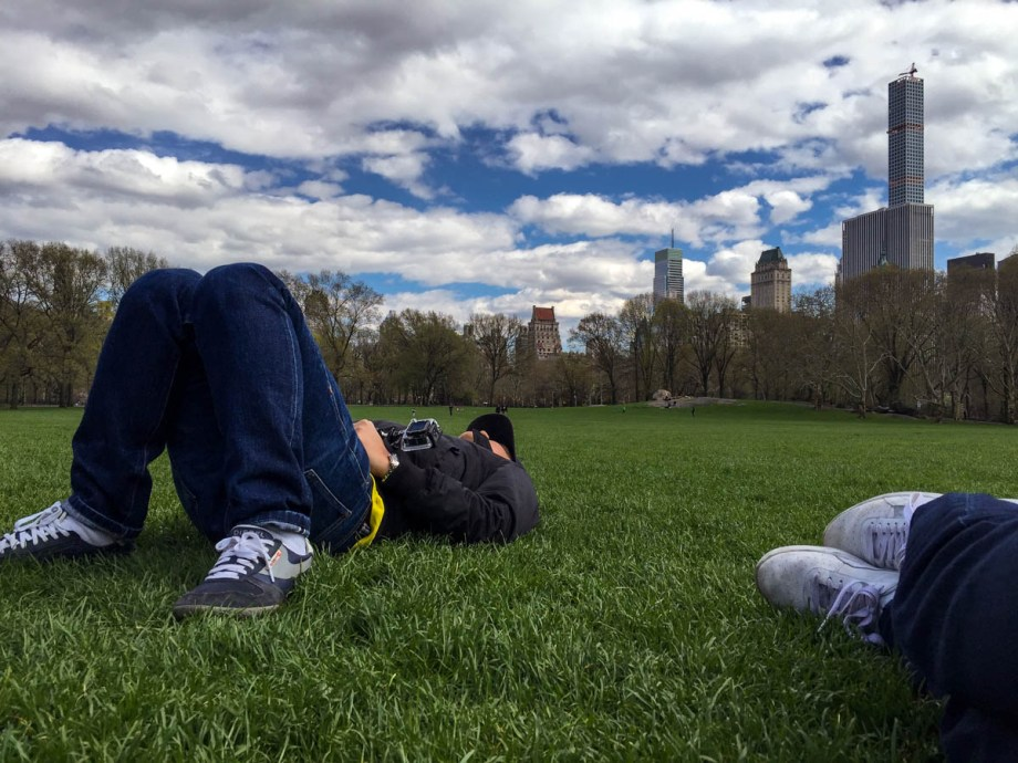 Taking a nap in Central Park