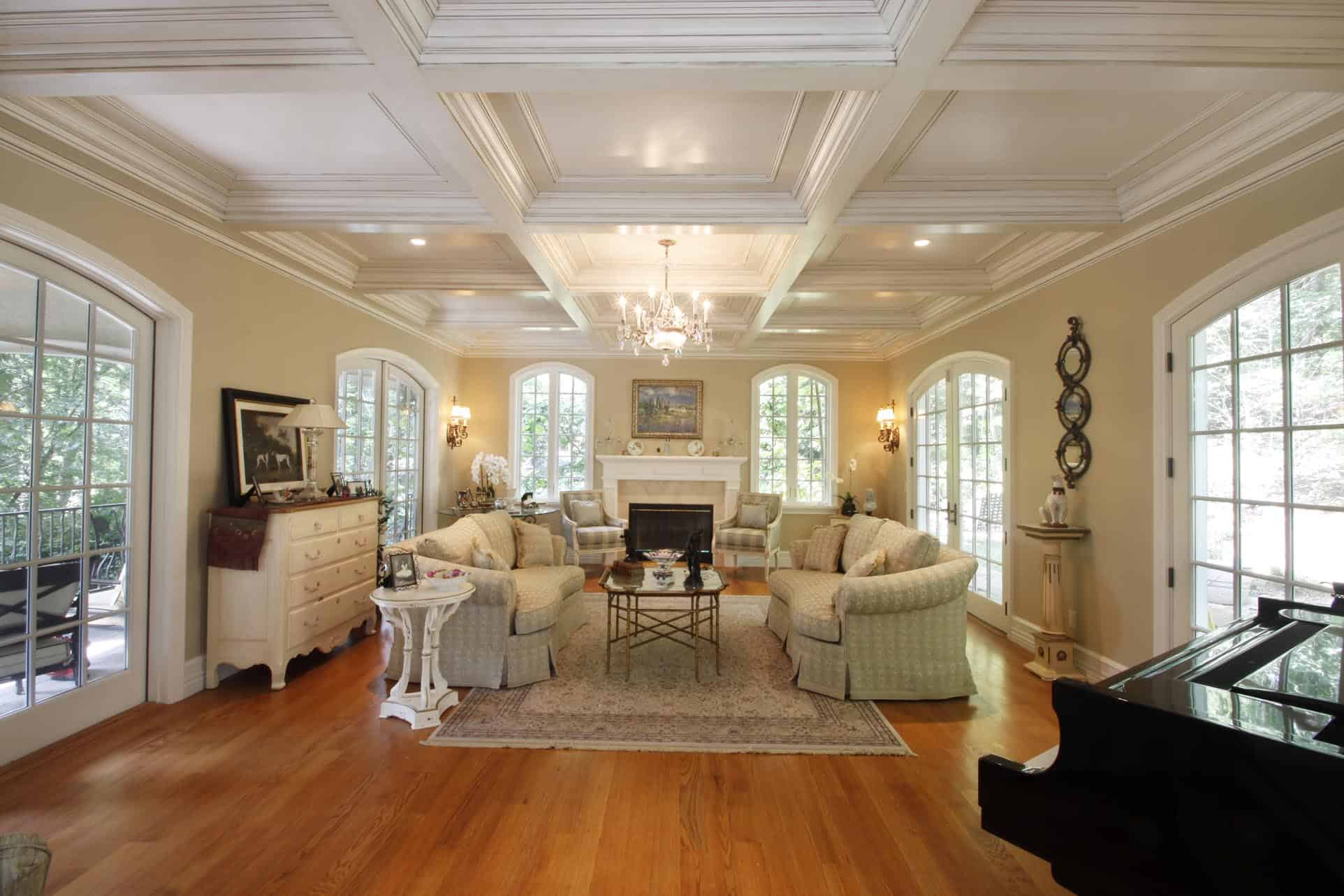 Ceiling Fan For Great Room Coffered Ceiling Design Ceiling Beams Coffer Ceiling
