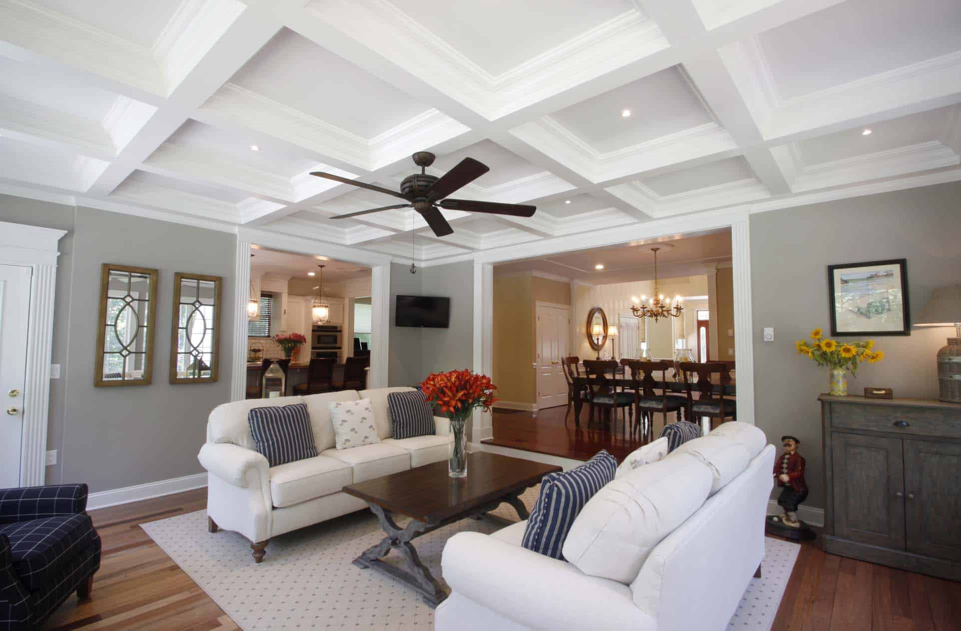 Living Room Ceiling Fan Ideas Coffered Ceiling Design Ceiling Beams Coffer Ceiling