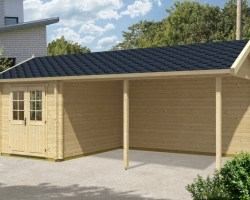 Wooden Carport Arthur with Tool Shed 21m² / 70mm / 3,5 x 7 m