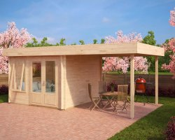 Contemporary Garden Room with Canopy Lucas D 9m² / 44mm / 3 x 3 m