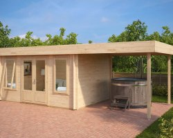 Modern Garden Log Cabin with Canopy Jacob D 12m² / 44mm / 4 x 3 m