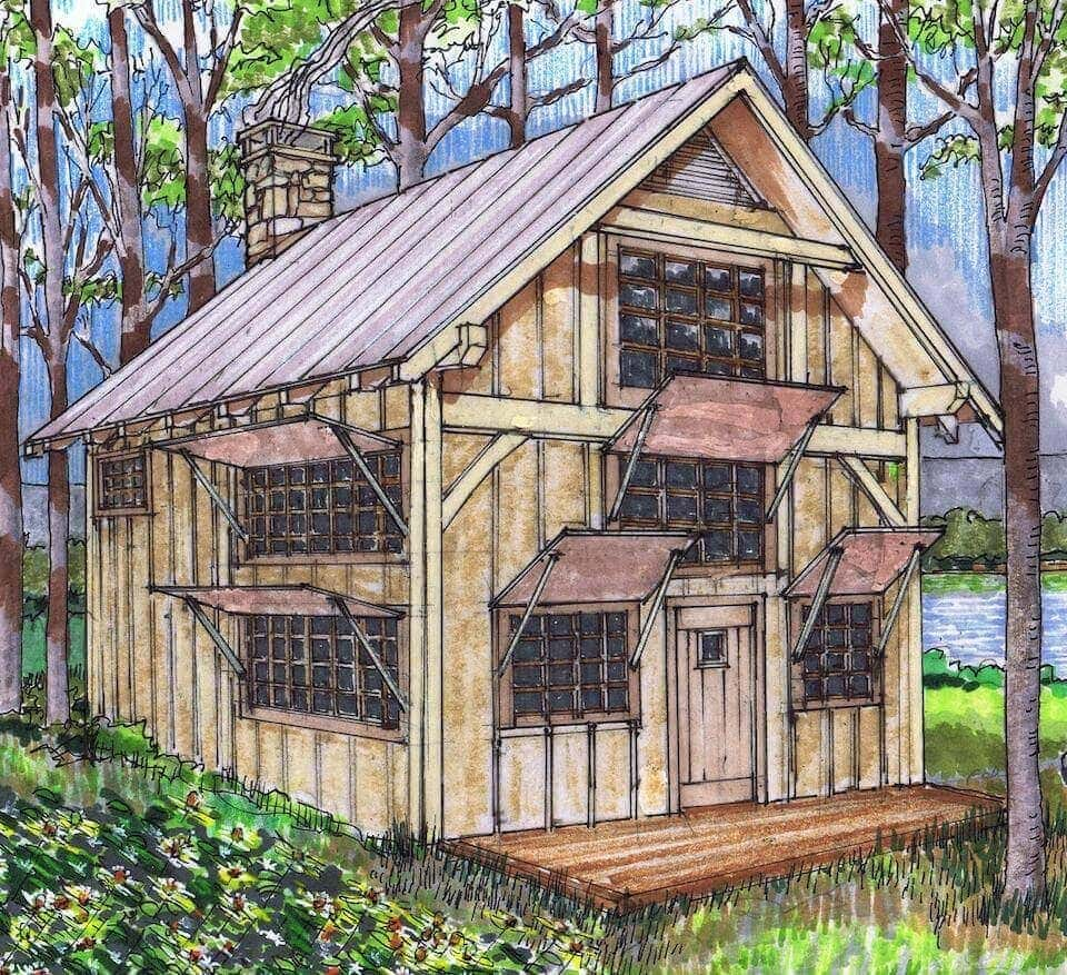 Tiny House With Garage Plans 20x24 Timber Frame Plan With Loft