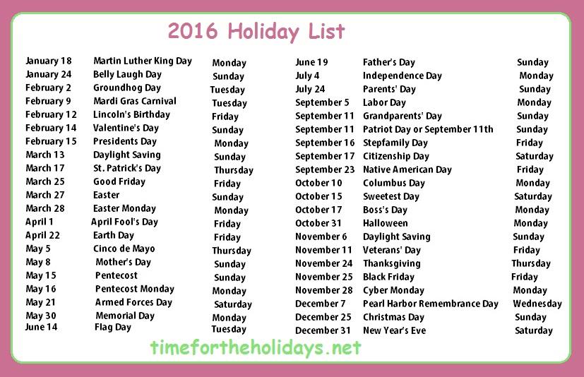 2016 Holiday Calendar Time for the Holidays - monday sunday calendar