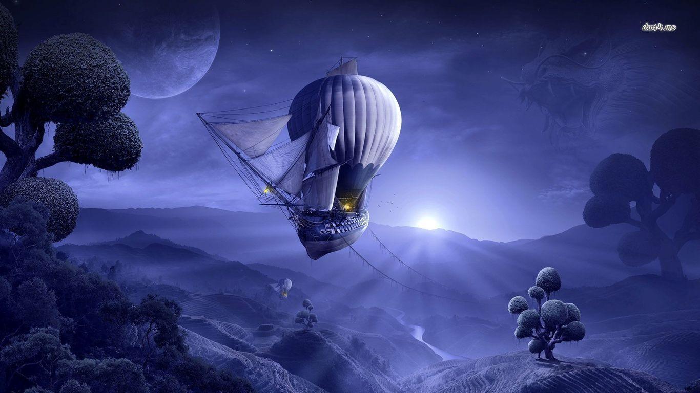 Beautiful Fiction Girl Wallpapers Hot Air Balloons Lantern Timeglass Journal