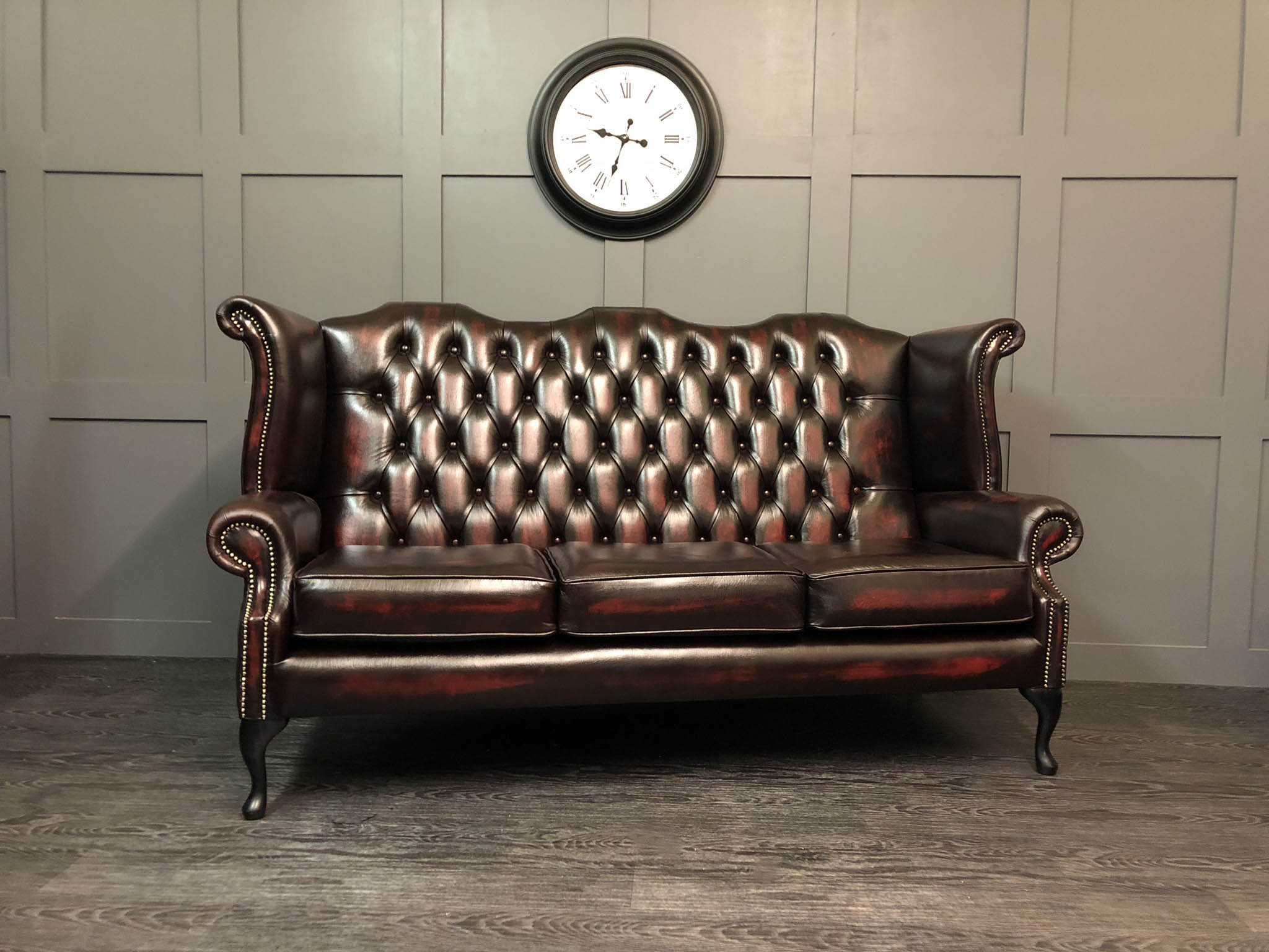 Sofa Queen Anne The Kent 3 Seat Wing Back Sofa Antique Oxblood Leather