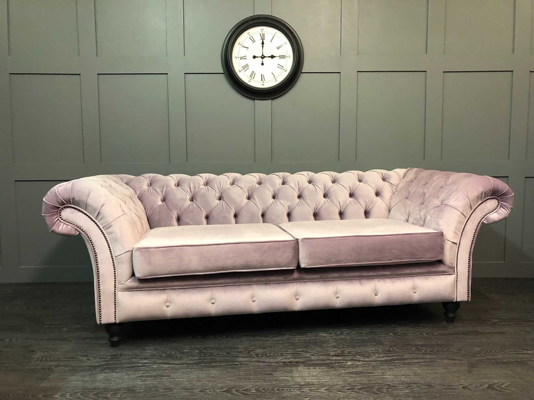 Chesterfield Velours The London Chesterfield 3 Seat Sofa Pt Heather Velour