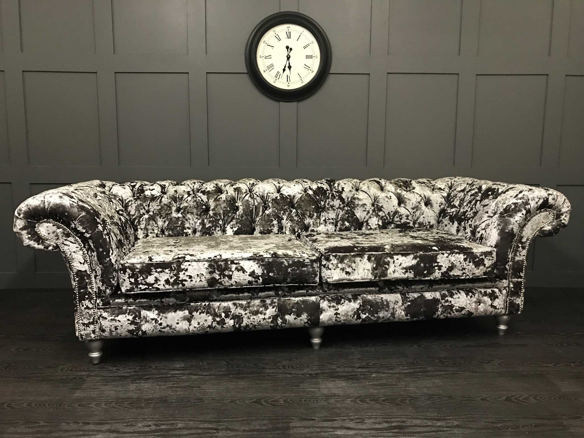 Chesterfield Suites The London Chesterfield Flint Lustro Crushed Velvet Timeless Sofas