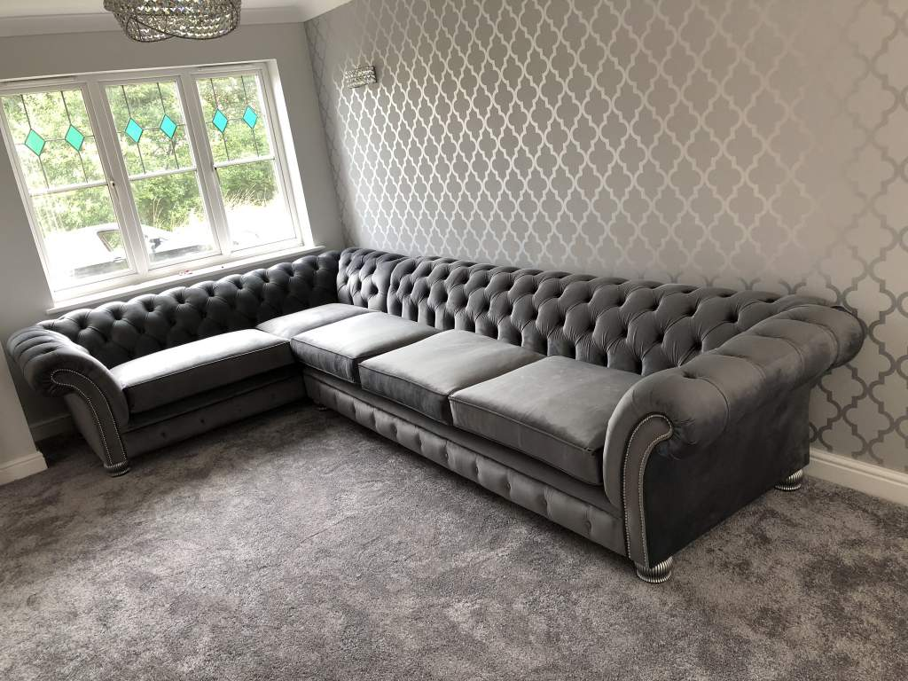 Made Sofa Velvet The London Chesterfield Corner Suite Cambio Steel Square