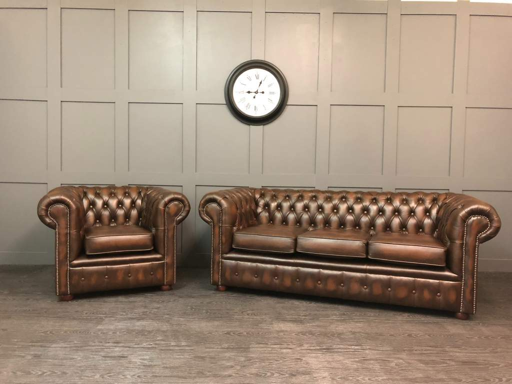 Chesterfield Suites The Chesterfield 2 Piece Suite Clearance Antique Brown Leather