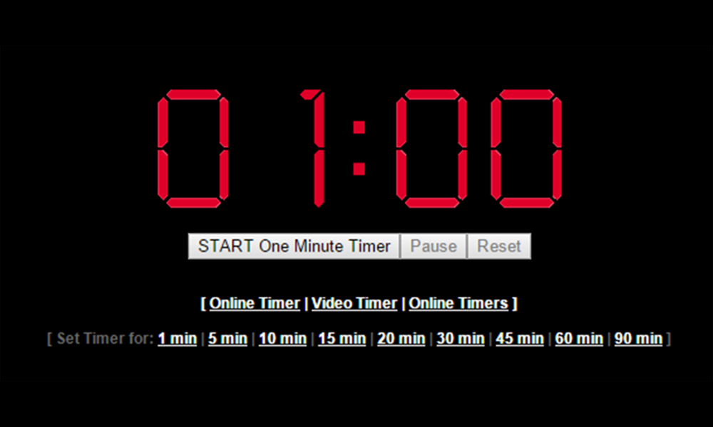 1 Minute Timer (60 Seconds) - Online Timer - set timer to 1 minute