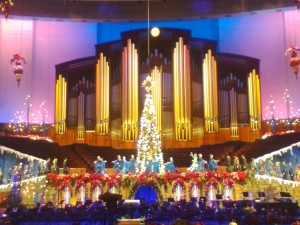 A huge Christmas tree was raised from under the stage at the high point of the year's concert.
