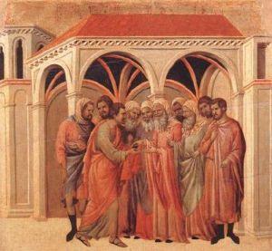 "Buoninsegna, ""Pact of Judas,"" 1308-11, Museo dell'Opera del Duomo, Siena"