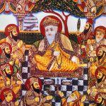 Guru Nanak with Bhai Bala and Bhai Mardana and Sikh Gurus. (Wikimedia)