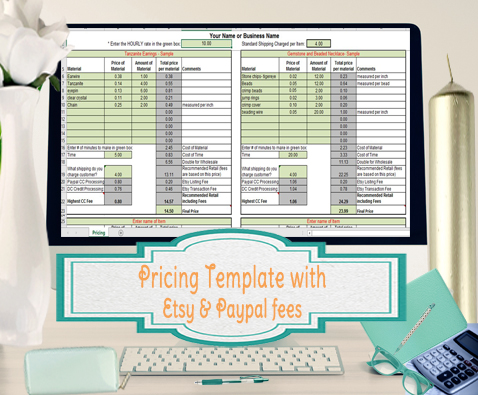 Product Pricing Calculator Template for Etsy and Paypal Seller - product pricing calculator