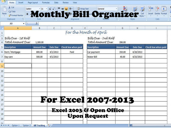 Bill Organizer Template Excel, Divide Payments into 1st  2nd Half - bill organizer