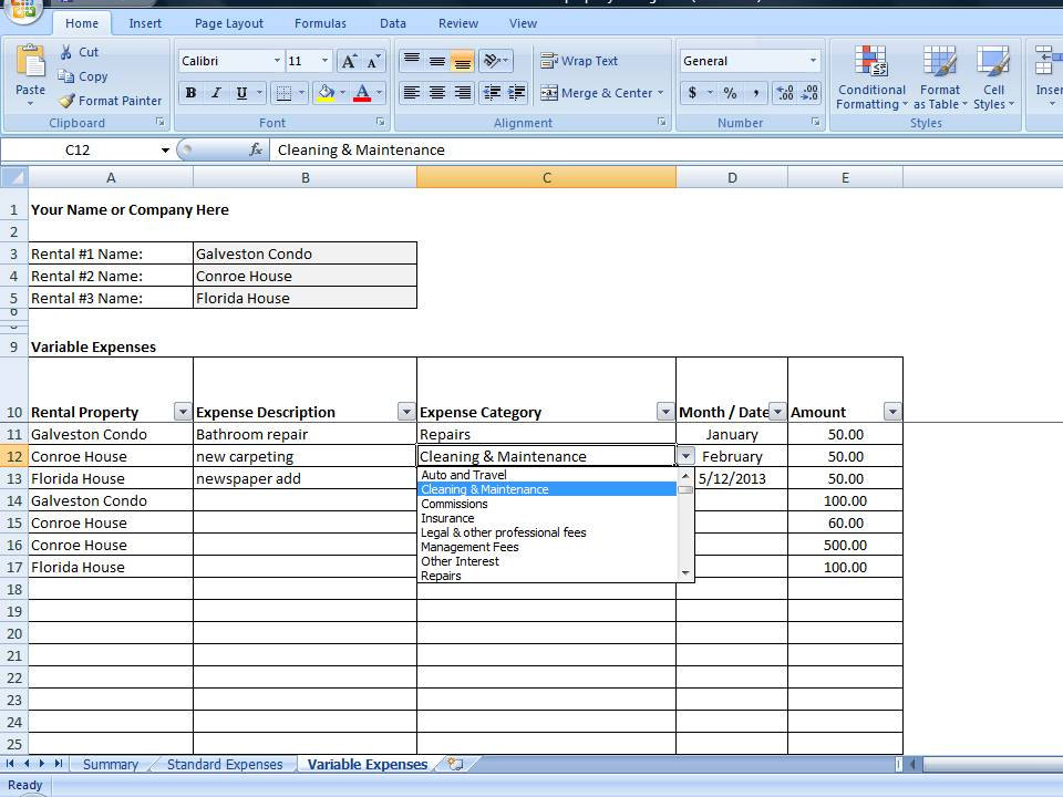 VRBO Accounting Excel Worksheet, Excel Template for Vacation - expense tracking template