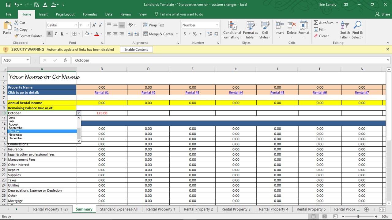 excel rental property spreadsheet