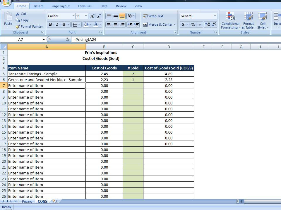 cost of goods sold excel