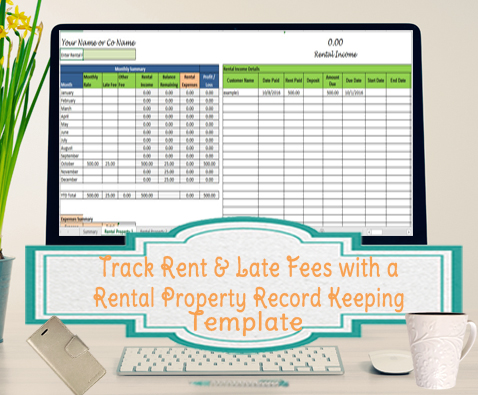 Track Rent and Late Fees, Landlord Expenses Spreadsheet, Rental