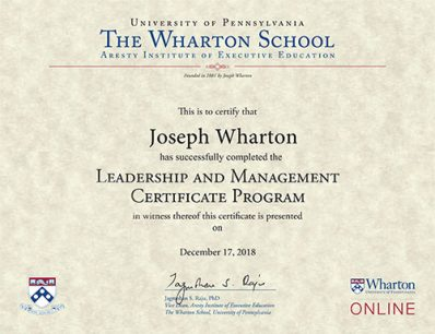 Wharton- Leadership and Management Online Certificate Programme