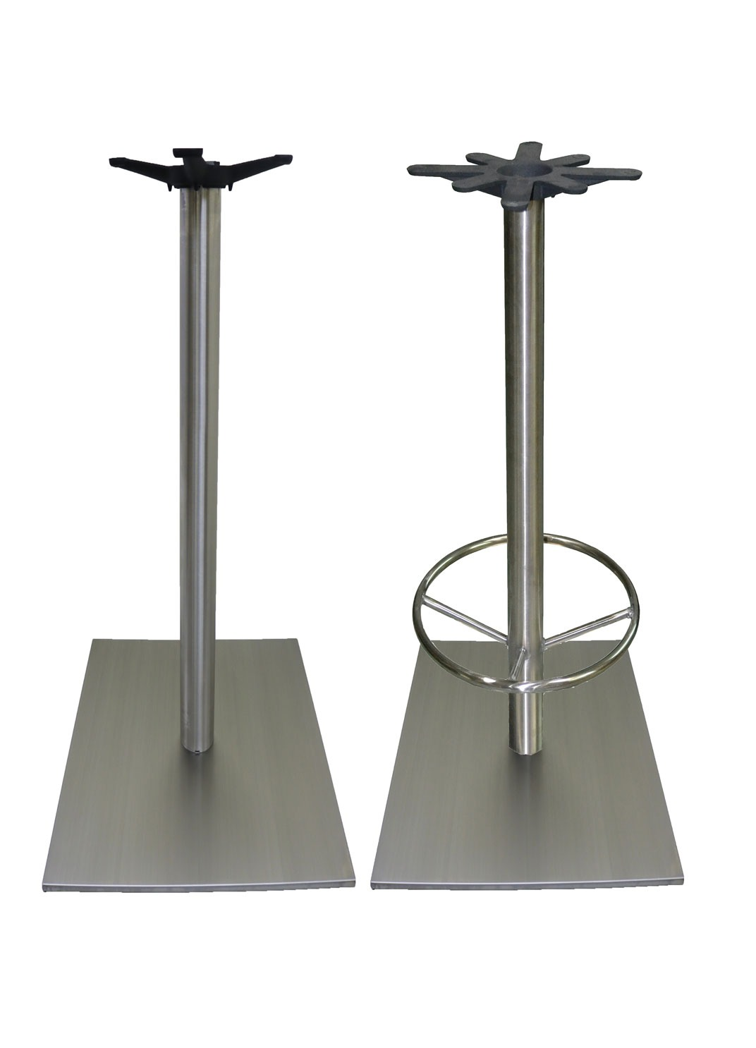 Stainless Restaurant Table Stainless Steel Bar Height Square With Round Column Restaurant