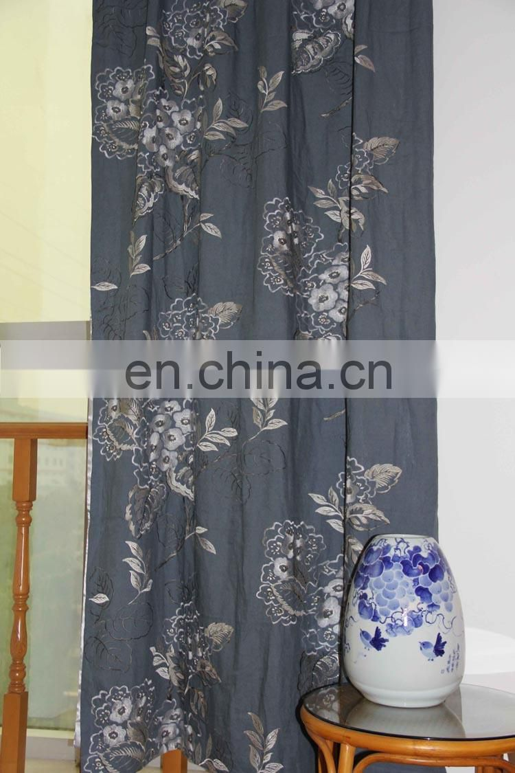 China Blue Curtains High Grade Embroidered Linen Curtains