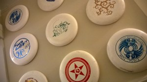 9 Frisbees on Thumbtacks