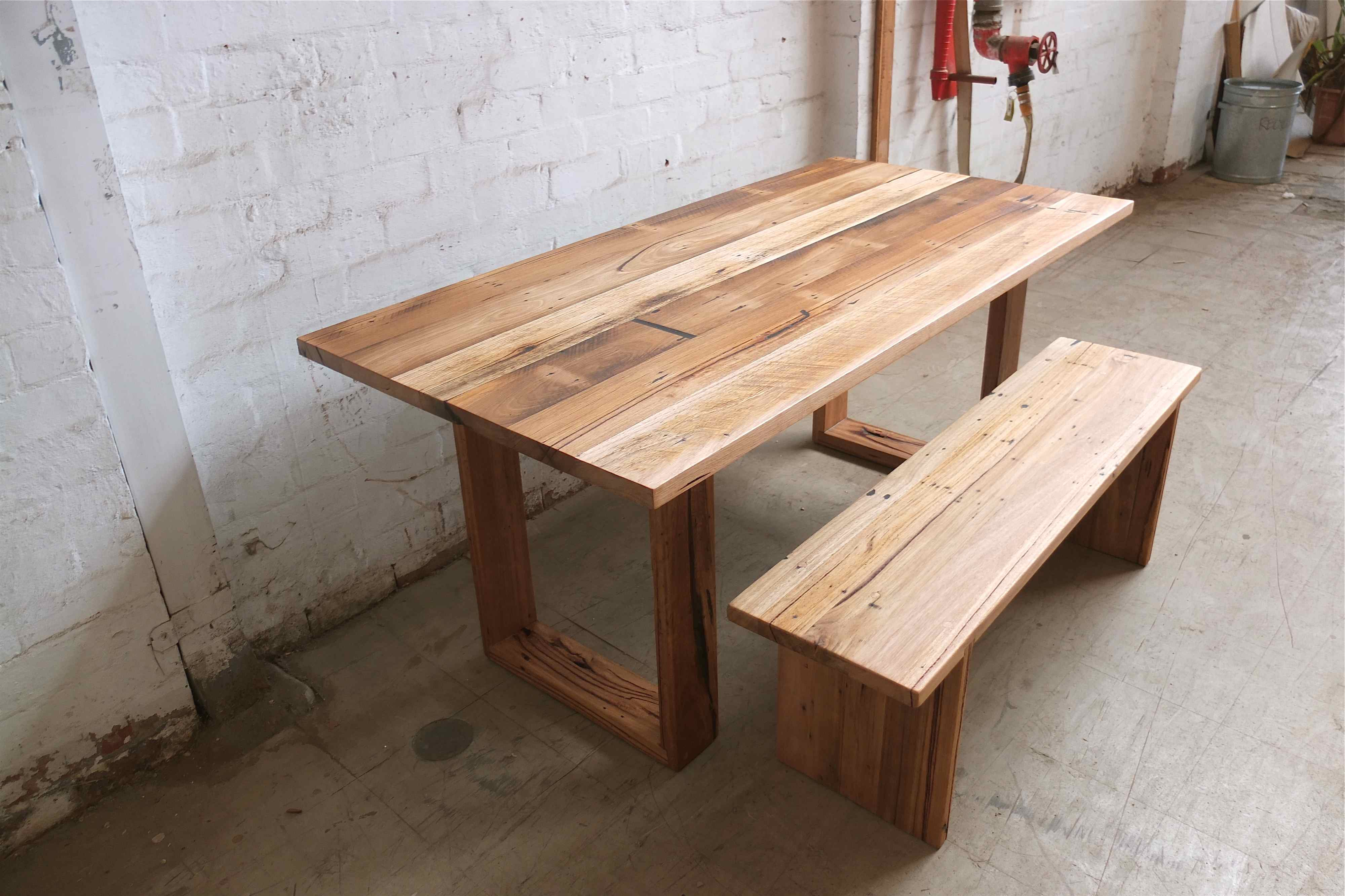 wood table bench