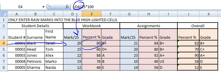 Creating a markbook using Excel Tim the Librarian - creating formulas in excel