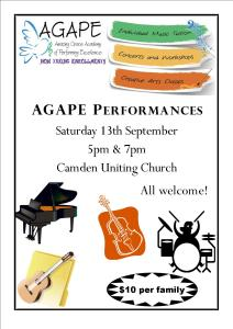 AGAPE Student Performances @ Camden Uniting Church
