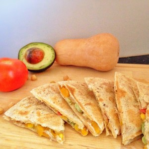 Butternut Squash Quesadillas from elite runner Tina Muir blog. These are packed with super foods to help you recover from workouts quicker.