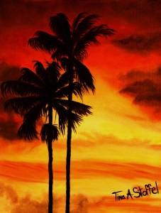 Red Sunset Palm Trees 11x14