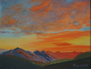Sunswept Mountains11x14 Original Oil Painting