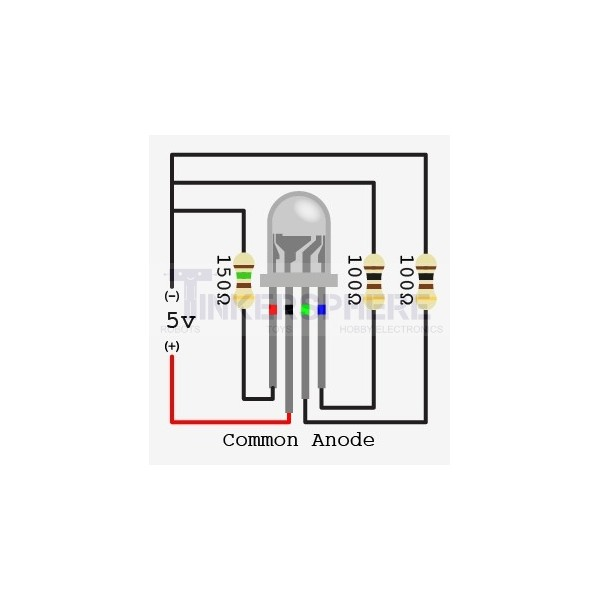 led rgb diffused 10mm common anode 4 leds