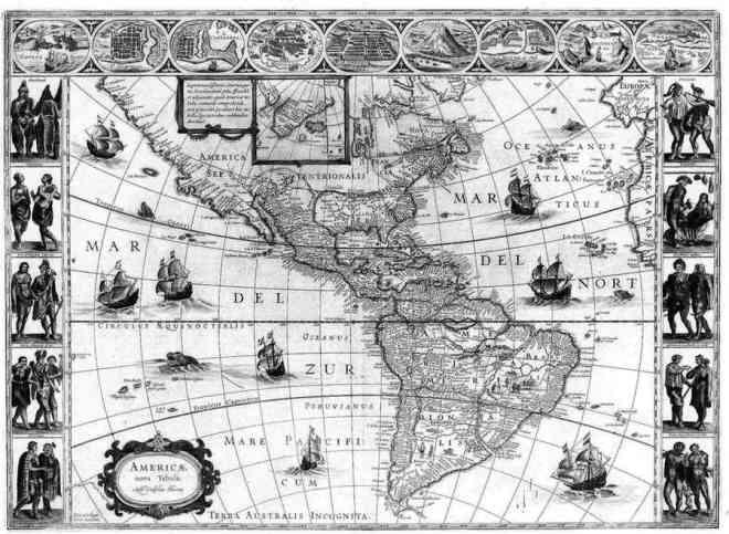 """Americae Nova Tabula"" by Hondius in 1640."