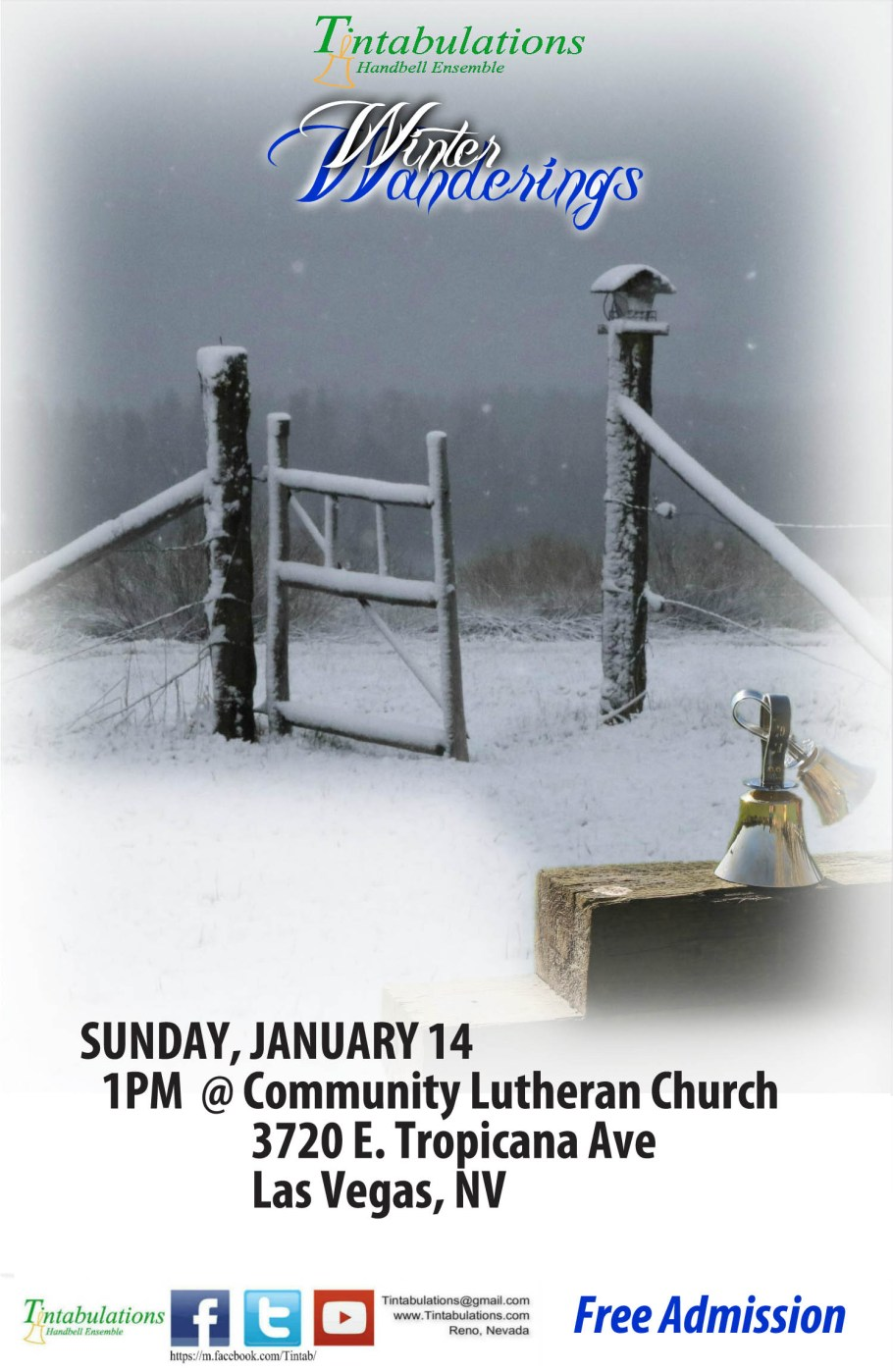 Concert flier for Tintabulations Winter Wanderings Concert on January 14th, 2017