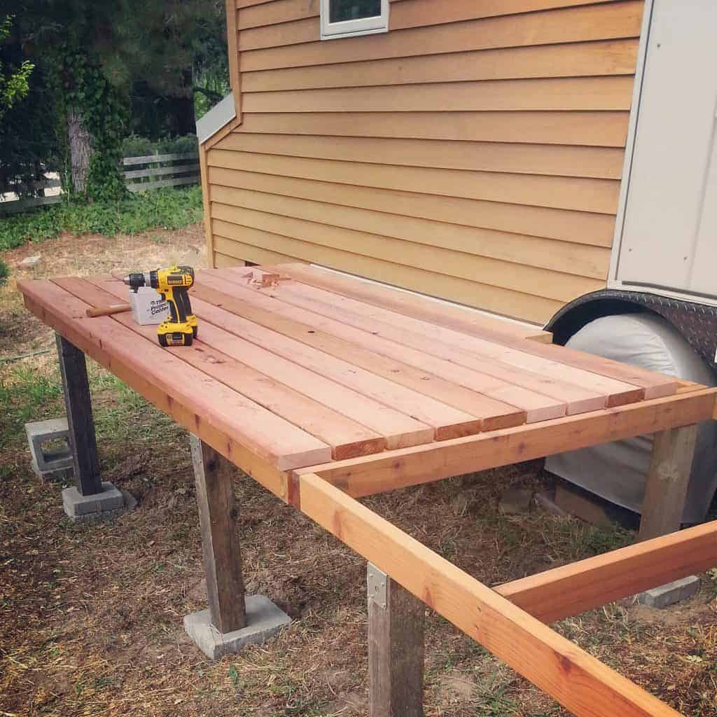 Tiny houses are better with folding redwood decks!