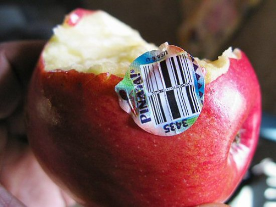 Barcoded apple
