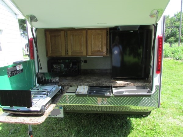 Kitchen Under Cabinet Tv Dvd Diy Micro Camping Trailer I Built For Cheap