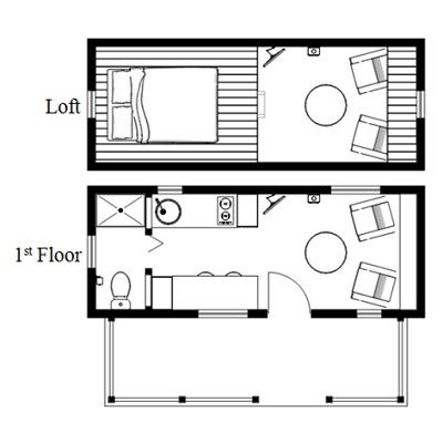 The McG Tiny House with Staircase Loft Photos, Video and Plans - plan de maison simple